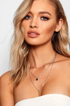 boohoo Bar And Coin Layered Necklace