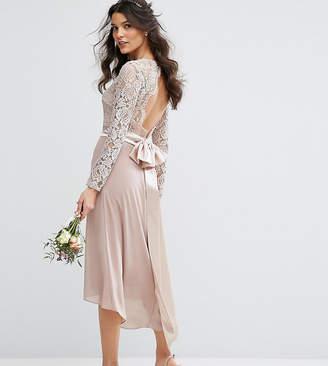 TFNC WEDDING Lace Midi Dress With Bow Back