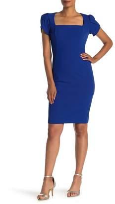 Donna Morgan Short Sleeve Crepe Sheath Dress