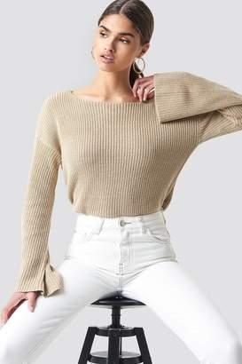 NA-KD Na Kd Cropped Long Sleeve Knitted Sweater Black
