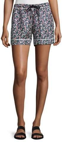 MonclerMoncler Floral Silk Satin Bermuda Shorts, Navy