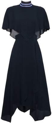 Fendi sleeveless crosshatch silk cape dress