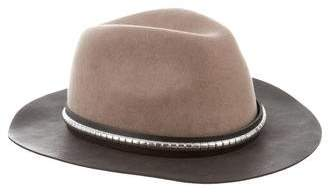 The Kooples Leather-Trimmed Fedora w/ Tags