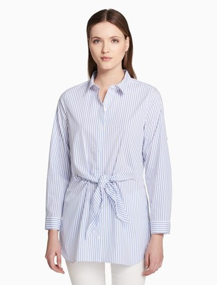 Calvin Klein striped tie front long sleeve tunic