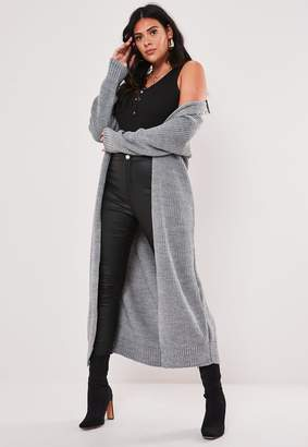 Missguided Plus Size Grey Belted Maxi Cardigan