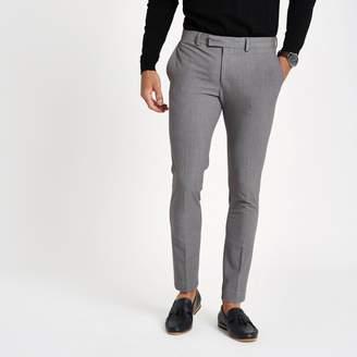 River Island Mens Grey super skinny suit trousers