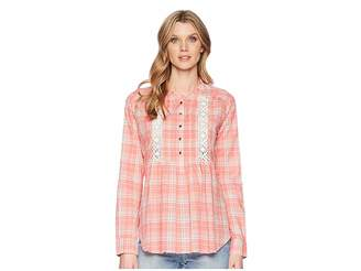 Roper 1600 Coral Plaid Long Sleeve Tunic Women's Clothing