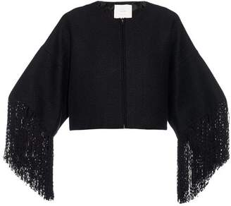 ADAM by Adam Lippes Basketweave Fringed Cropped Jacket - Womens - Black