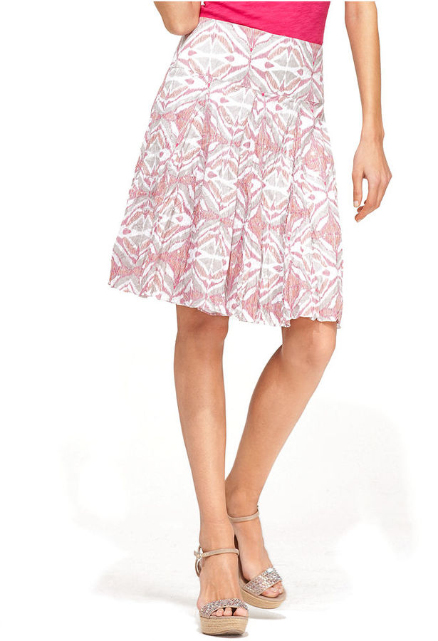 INC International Concepts Skirt, A-Line Printed Sequin