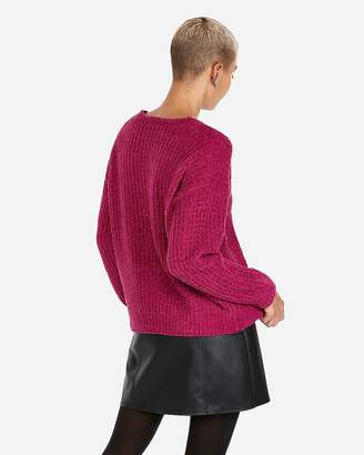 Express Cozy Chenille Shaker Knit V-Neck Sweater