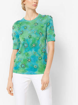 Michael Kors Brooch-Embroidered Cashmere Pullover