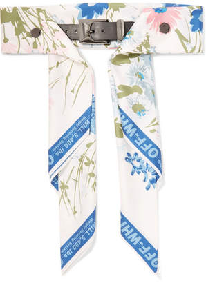 Off-White Floral-print Satin And Leather Waist Belt - Blue