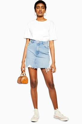 879d9b2cf Topshop Blue Side Ripped Denim Skirt