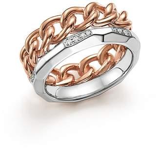 Pomellato Milano Ring with Diamonds in 18K Rose and White Gold