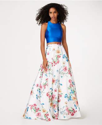 City Studios Juniors' 2-Pc. Satin & Floral-Print Gown