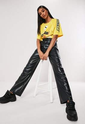 Missguided Tall Black Faux Leather Wide Leg Pants