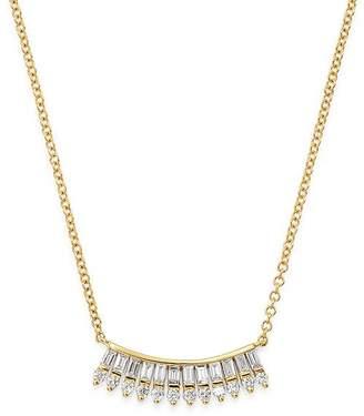 "KC Designs 14K Yellow Gold Mosaic Baguette & Round Diamond Fan Necklace, 16"""
