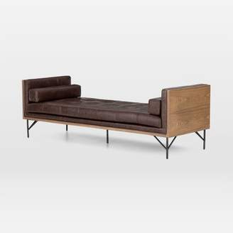 west elm Buttonless Tufted Leather Chaise