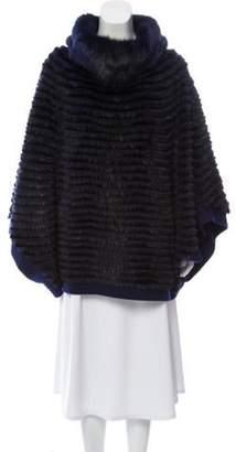 Fur Mink-Paneled Wool Poncho Navy Fur Mink-Paneled Wool Poncho