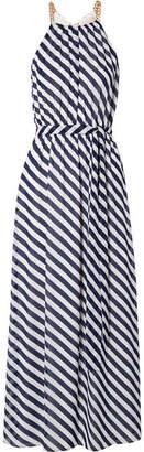 MICHAEL Michael Kors Chain-embellished Striped Chiffon Maxi Dress - Midnight blue