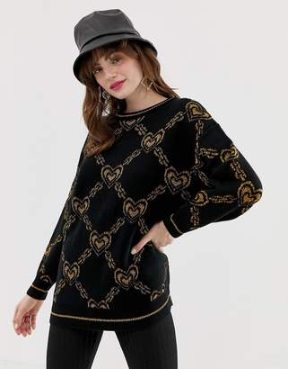 Monki oversized sweater with gold chain and heart print in black