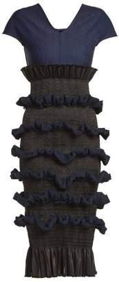 Emilio De La Morena Tamara contrast-panel ruffled silk dress