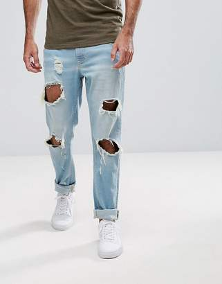 Hoxton Denim Slim Fit Jeans with Busted Knees