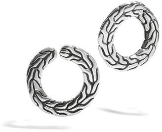John Hardy Silver Round Carved Chain Earrings
