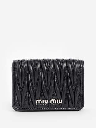 Miu Miu WOMEN'S BLACK MATELASSE MICRO POUCH WITH CRYSTAL CHAIN STRAP