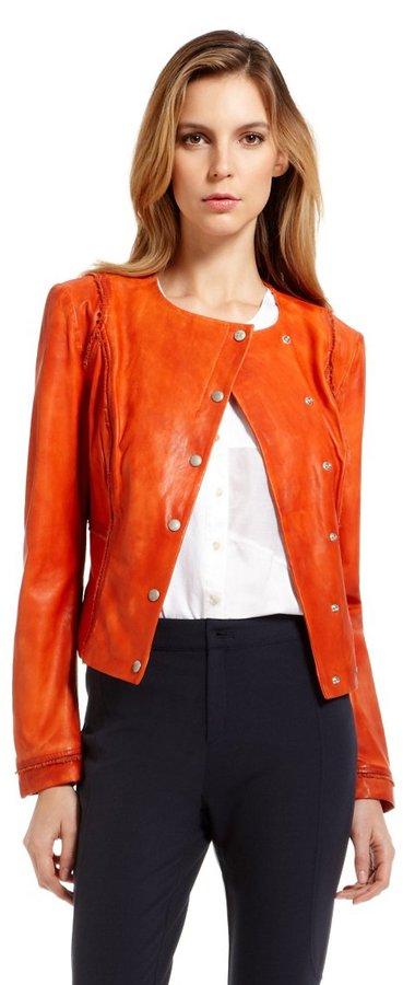 HUGO BOSS 'Jisera' | Collarless Leather Jacket by BOSS Orange