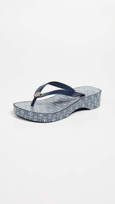 77d8894bfdb Tory Burch Cutout Wedge Flip Flops