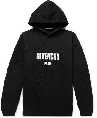 Givenchy Oversized Distressed Logo-Print Cotton-Jersey Hoodie - Men - Black