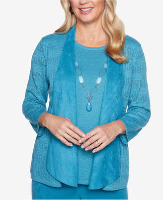 Alfred Dunner Petite Victoria Falls Layered-Look Sweater with Faux-Suede Trim