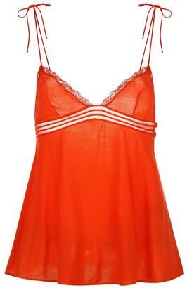 La Perla Garnet Tango Red Modal Pyjama Top With Soutache And Floral Embroidery