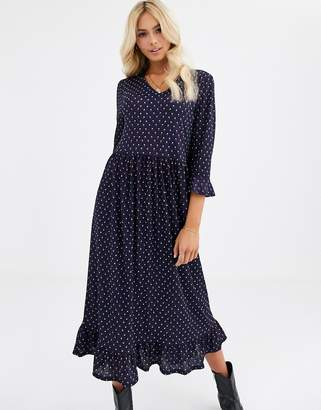 JDY geo print long midi dress with frill hem