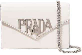 Prada Logo Liberty Leather Shoulder Bag - White