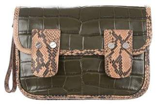 Michael Kors Snakeskin-Trimmed Leather Clutch