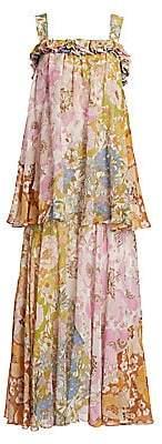Zimmermann Women's Super 8 Floral Tiered Silk-Blend Maxi Dress