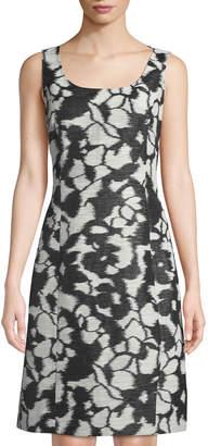 Oscar de la Renta Sleeveless Fil Coupe Shift Dress, Black/White