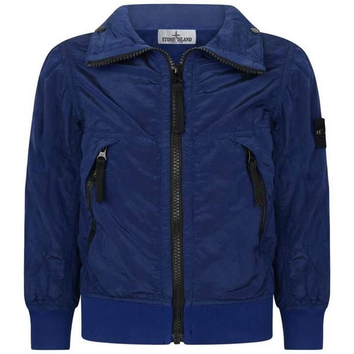 Stone IslandBoys Blue Jacket With Hideaway Hood
