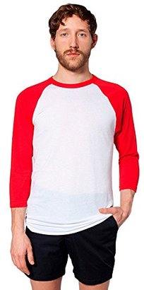American Apparel  Unisex Poly-Cotton 3/4 Sleeve Raglan Shirt, White/Red, Large $11.25 thestylecure.com