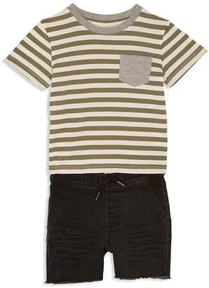 Hudson Boys' Striped Tee & Frayed Shorts Set - Little Kid