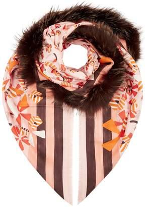 Fendi Fox Fur Trimmed Print Scarf