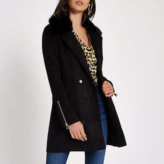 River Island Black faux fur collar swing coat