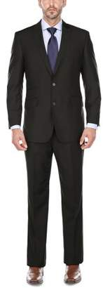 Verno Men' s Black Peak Lapel Classic Fit Two Piece Suit
