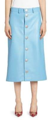 Balenciaga Women's Leather Snap-Button Midi Skirt - Baby Blue - Size 34 (0)