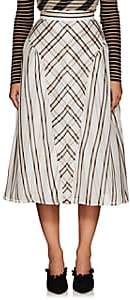 Fendi WOMEN'S STRIPED LAYERED SILK MIDI-SKIRT-WHITE SIZE 38