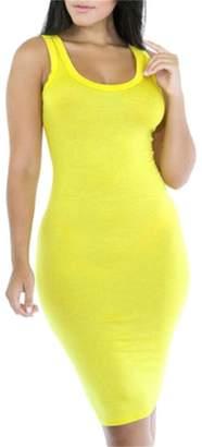 Frieed Women Solid Sleeveless Bodycon Slim Fit Sexy Tank Midi Dress S
