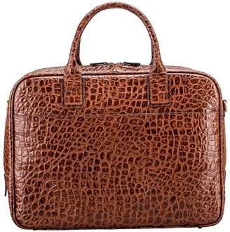 Maxwell Scott Bags Crocodile Print Leather Business Bag For Laptop