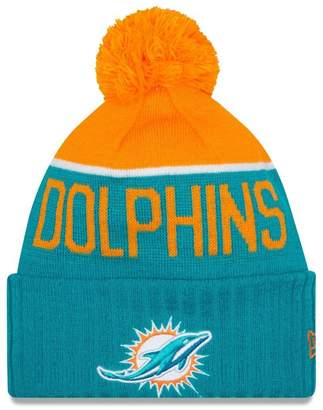 New Era Knit Miami Dolphins Blue On Field Game Sideline Sport Knit Winter Stocking Beanie Pom Hat Cap 2015 ...